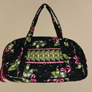 Vera Bradley Black and Pink Bow Small Cosmetic Bag